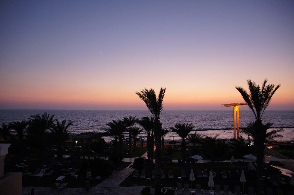 Пальмы и памятник. Отель St. George. Paphos.